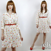 Vintage 70s Strawberry Lounge Dress XL 1X House Dress Strawberry Dress Hippie Dress Hippy Dress Summer Dress White Dress Plus Size Dress