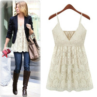 White V-Neck Strap Lace Top
