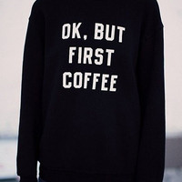 Casual Style Round Neck Long Sleeve White Letter Pattern Sweatshirt