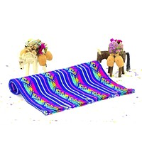Dark blue fiesta table runner, Mexican Dinner Party Decorations