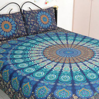 Bohemian Sea of Blues Queen 3 Pc Set Mandala Boho Bedding and 2 Pillow Cases - Free Shipping