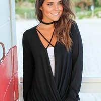 Black Criss Cross Draped Top