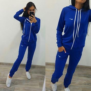 "Women Fashion ""NIKE"" Print Zip-up jacket Sweater Pants Sweatpants Set Two-Piece Sportswear"