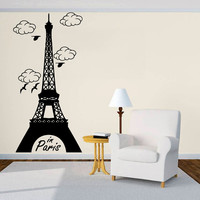 Wall Decal Vinyl Sticker Decals Art Decor Sign  in Paris Clouds Mural France The Eiffel Tower City kids Bedroom Modern Fashion ( r598)