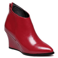 Red Back Zippered Ankle Boots With Wedge Heel Design