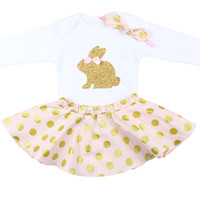 Girls Easter Bunny Outfit with Bodysuit, Twirl Skirt and Knotted Headband, Pink Gold Polka Dot Outfit with Easter Bunny Outfit