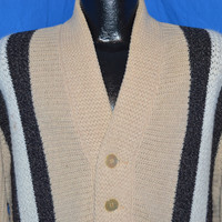 50s Campus Bulky Knit Tan Gray Stripe Cardigan Sweater Large