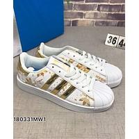 ADIDAS Superstar Print Shell Cap Top Sport Shoes Gold Print