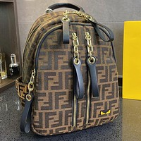 FENDI embroidered letters retro backpack ladies shopping school bag Daypack