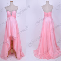 Strapless Front Short Long Back Pink Prom Dresses, Evening Gown, Wedding party Dresses, High Low Formal Gown