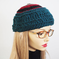 OOAK womens knitted hat - Blue beanie - Ready to ship - Teal & red hat - Crocheted Hat - Warm winter hat - Teen girl cap - Chunky knit hat