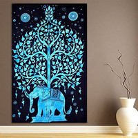 1 X Elephant Under Tree Tapestry, Indian Hippie Wall Hanging , Bohemian Bedspread, Mandala Cotton Dorm Decor Beach Blanket
