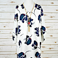 Floral Print Pleat-Front Dress - White/Navy