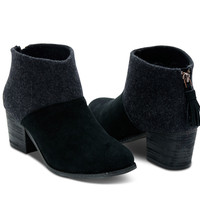 BLACK WOOL FELT WOMEN'S LEILA BOOTIES