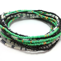 Seed bead wrap stretch bracelets, stacking, beaded, boho anklet, bohemian, stretchy stackable multi strand, green gold black white blue