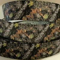 """Grosgrain Ribbon, 7/8"""" Woodsy Ground Camo Grosgrain Ribbon--Camouflage Printed Ribbon, sold by the yard"""