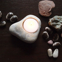 feng shui home decor - hand engraved beach stone candle holder - heart