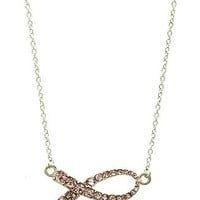 Breast Cancer Rhinestone Ribbon Pendant