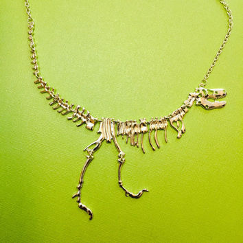 Dinosaur skeleton silver necklace