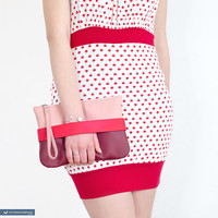 """Red clutch """"CarryMe"""", vegan leather purse"""