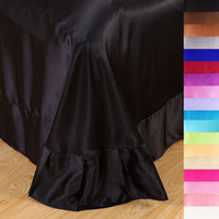 Luxury satin silk black bed sheet king queen twin size,High-quality flat sheets bed linen,18 color bedding bedsheet &45