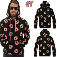 Odd Future All Over OF Donut Black & Pink Hoodie