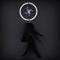 Dream Catcher for Car Mirror- White, Blue, and Amethyst Stone