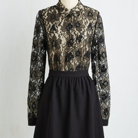 LBD Mid-length Long Sleeve A-line Someone to Luxe Up To Dress