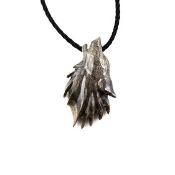 Wolf Pendant, Wolf Necklace, Mens Wolf Necklace, Wolf Jewelry, Howling Wooden Wolf Pendant, Wolf Totem, Mens Tribal Necklace, Tribal Jewelry
