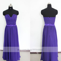 Custom Made Purple Floor Length Bridesmaid Dress/ SimpleL ong Prom Dress/ Wedding Party Dress /Bridal Party Dress From Wishdress
