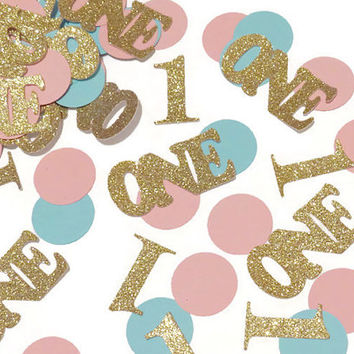 1st Birthday Confetti, Babys first birthday party, pink, teal, gold glitter, circles,100CT, round, sprinkles