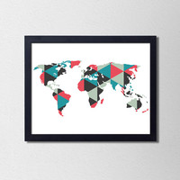 Geometric World Map Print. Modern World Map Print. Triangle Map Print. Modern Home Decor. Office Art. Minimalist World Map Print.