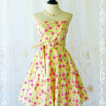 My Lady III Yellow Strapless Dress Pink Floral Spring Summer Sundress Floral Party Dress Tea Dress Yellow Floral Bridesmaid Dresses XS-XL