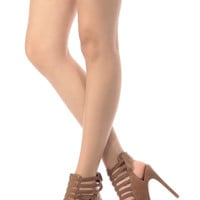Tan Faux Leather Multi Strap Open Toe Heels