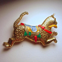 Smithsonian Institute Cat & Fish Enamel Brooch, Gilded Mogul, Texture Relief, Vintage