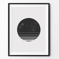 Round geometric art, wall art prints, geometric print, black and white, wall decor, graphic, inspirational art, moon print