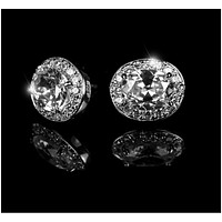 Daisy Oval Halo Stud Earrings | 4ct | Cubic Zirconia | Silver