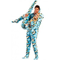 Blue Penguins Footed Hooded Adult Onesuit Pajamas