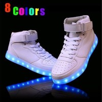 8 Colors Size 36-46 LED Casual Shoes Fashion led Shoes for Adults Lights Glowing Luminous Light Shoes [8096622983]