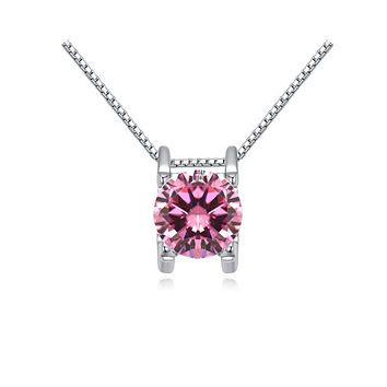14K White Gold Plated Suspended 2CT Cubic Zirconia Solitaire Necklace For Woman
