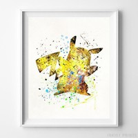 Pikachu Pokemon Type 2 Wall Decor Watercolor Poster Baby Shower Gift UNFRAMED by Inkist Prints
