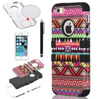 iPhone 5S Case, iPhone 5 Case, ULAK Hybrid Case for iPhone 5S / iPhone 5 with Dual Layer [Hard PC+ Soft Silicone] (Tribal-Pink+Black)