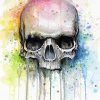 Skull Watercolor Painting Art Print by Olechka