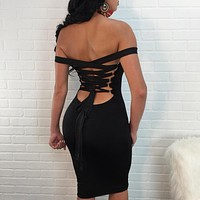 Solid Color Fashion Backless Hollow Crisscross Bandage Strap Bodycon High Waist Strapless Dress