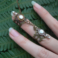 double armor ring double chained ring  nail ring  claw ring nail tip ring knuckle ring  goth victorian goddess pagan boho gypsy