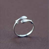 Sales Double Fish Open Adjustable Mid Ring Toe Ring Jewelry Fish Ring 925 Sterling Silver Ring