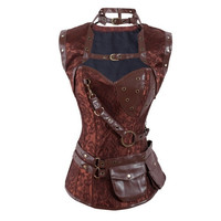 Steampunk High Neck Corset with Jacket = 1929571460