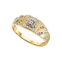 Diamond Mens Cluster Ring in 10k Gold 0.12 ctw