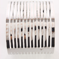 Silver Perforated High Polish Metal Bracelet Cuff