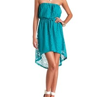 STRAPLESS HIGH-LOW LACE DRESS